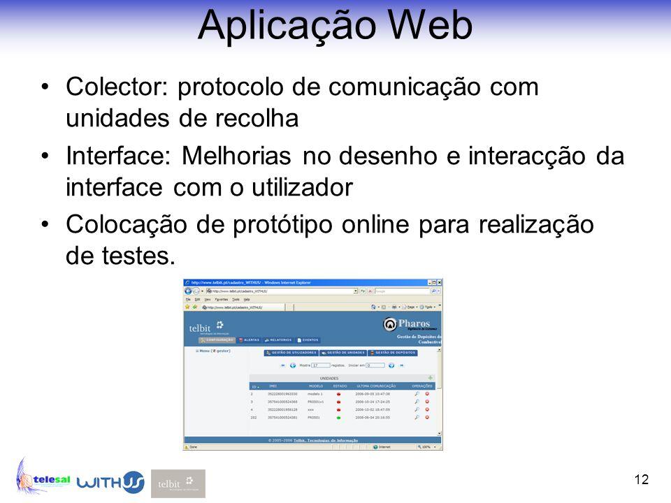 12 Aplicação Web Colector: protocolo de comunicação com unidades de recolha Interface: Melhorias no desenho e interacção da interface com o utilizador