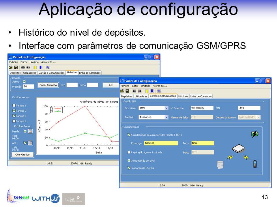 13 Aplicação de configuração Histórico do nível de depósitos. Interface com parâmetros de comunicação GSM/GPRS