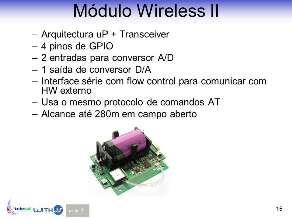 15 Módulo Wireless II –Arquitectura uP + Transceiver –4 pinos de GPIO –2 entradas para conversor A/D –1 saída de conversor D/A –Interface série com fl