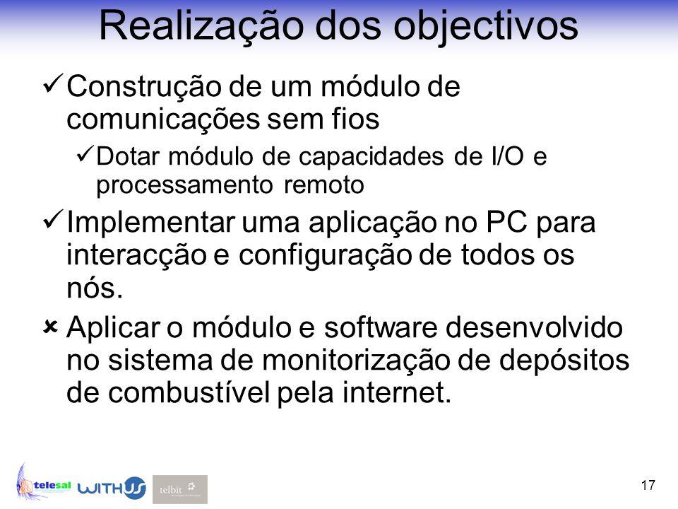 17 Realização dos objectivos Construção de um módulo de comunicações sem fios Dotar módulo de capacidades de I/O e processamento remoto Implementar um