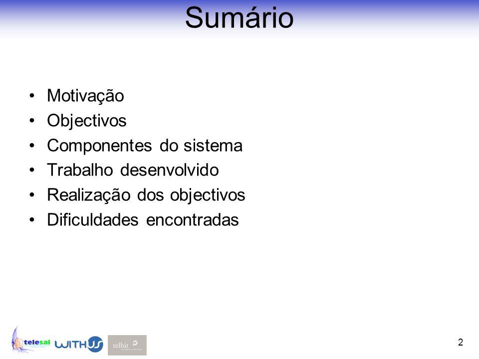 2 Sumário Motivação Objectivos Componentes do sistema Trabalho desenvolvido Realização dos objectivos Dificuldades encontradas