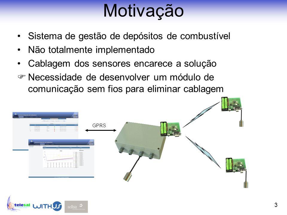 3 Motivação Sistema de gestão de depósitos de combustível Não totalmente implementado Cablagem dos sensores encarece a solução Necessidade de desenvol