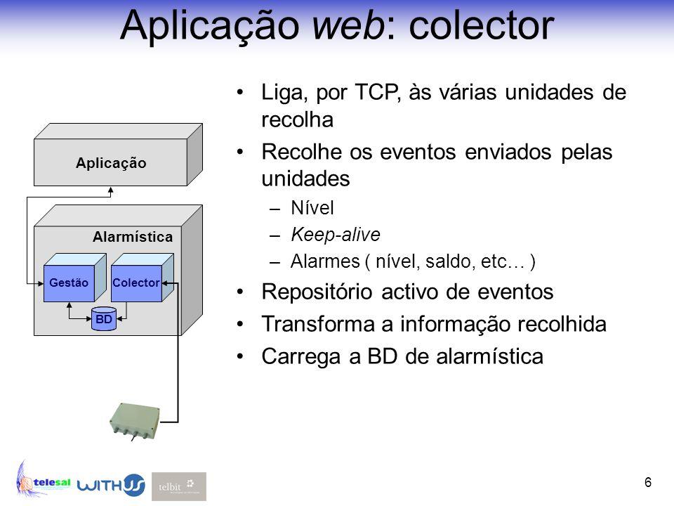 6 Aplicação web: colector Liga, por TCP, às várias unidades de recolha Recolhe os eventos enviados pelas unidades –Nível –Keep-alive –Alarmes ( nível,