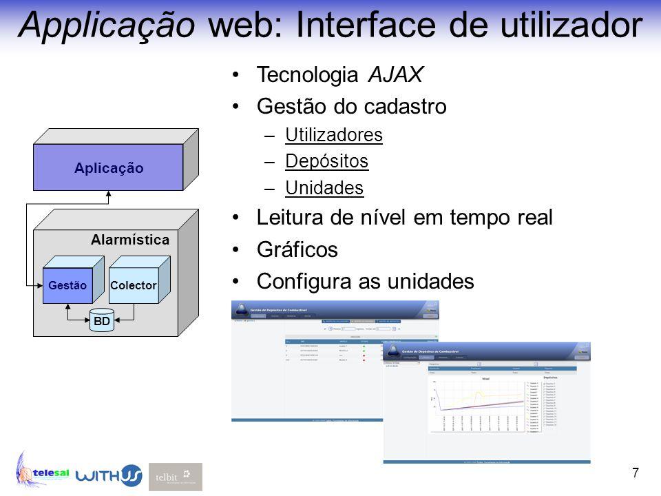 7 Applicação web: Interface de utilizador Alarmística Aplicação GestãoColector BD Tecnologia AJAX Gestão do cadastro –Utilizadores –Depósitos –Unidade