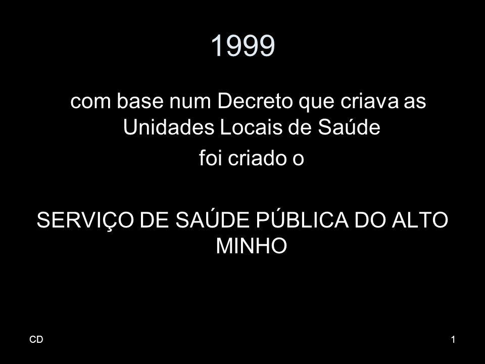 1999 com base num Decreto que criava as Unidades Locais de Saúde foi criado o SERVIÇO DE SAÚDE PÚBLICA DO ALTO MINHO CD1