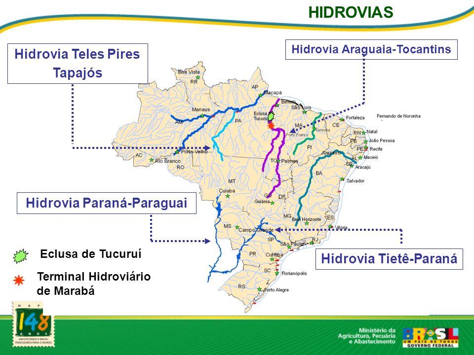 Hidrovia Teles Pires Tapajós Hidrovia Tietê-Paraná Hidrovia Paraná-Paraguai Hidrovia Araguaia-Tocantins Eclusa de Tucuruí Terminal Hidroviário de Marabá HIDROVIAS