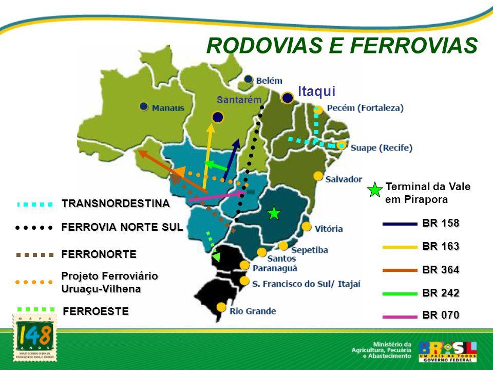 RODOVIAS E FERROVIAS BR 364 BR 242 BR 163 BR 158 Projeto Ferroviário Uruaçu-Vilhena FERRONORTE BR 070 FERROVIA NORTE SUL FERROESTE Santarém Itaqui Terminal da Vale em Pirapora TRANSNORDESTINA