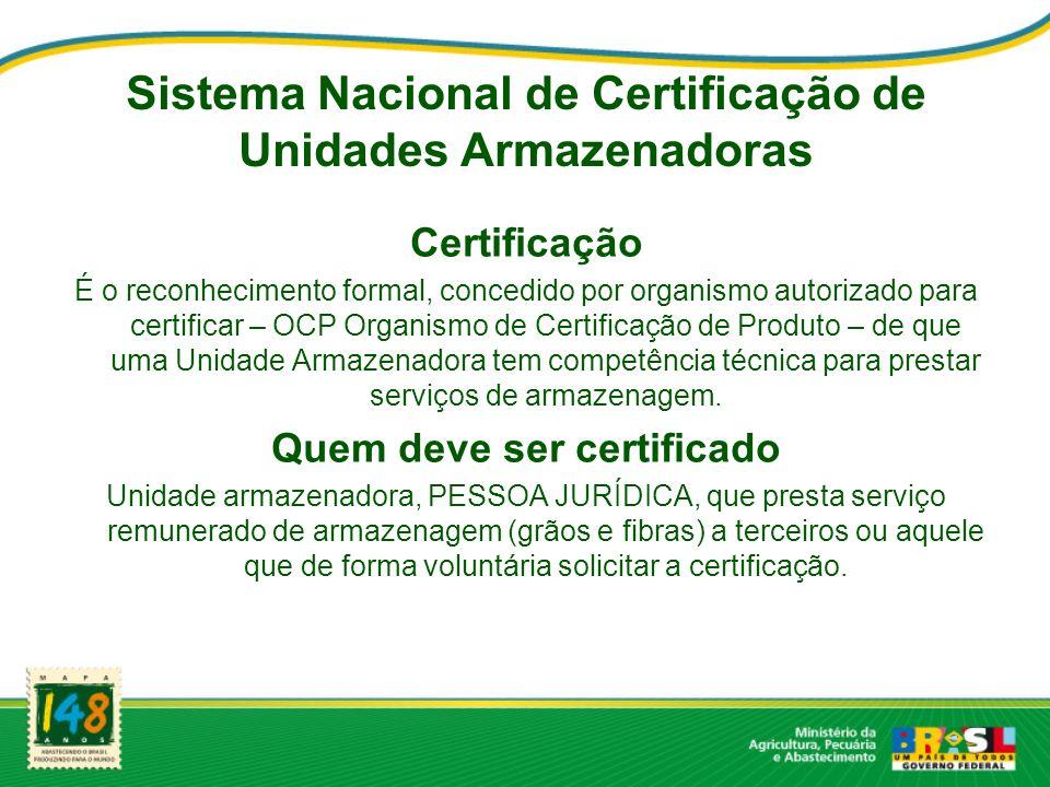 Sistema Nacional de Certificação de Unidades Armazenadoras Certificação É o reconhecimento formal, concedido por organismo autorizado para certificar – OCP Organismo de Certificação de Produto – de que uma Unidade Armazenadora tem competência técnica para prestar serviços de armazenagem.