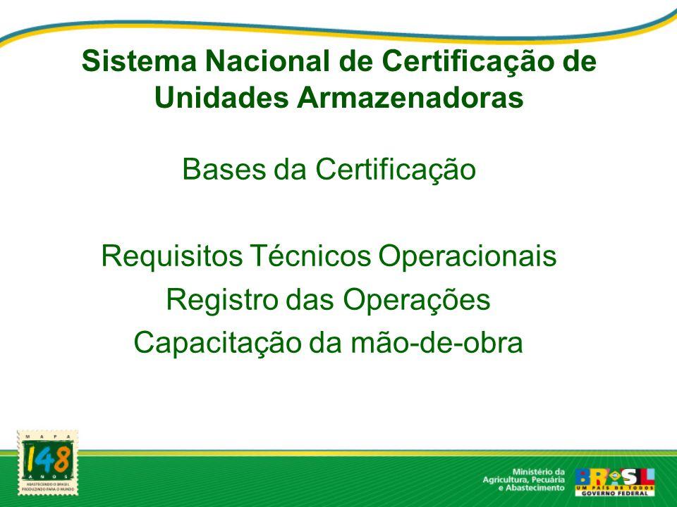 Sistema Nacional de Certificação de Unidades Armazenadoras Bases da Certificação Requisitos Técnicos Operacionais Registro das Operações Capacitação d