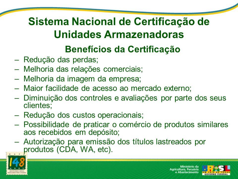 Benefícios da Certificação –Redução das perdas; –Melhoria das relações comerciais; –Melhoria da imagem da empresa; –Maior facilidade de acesso ao merc