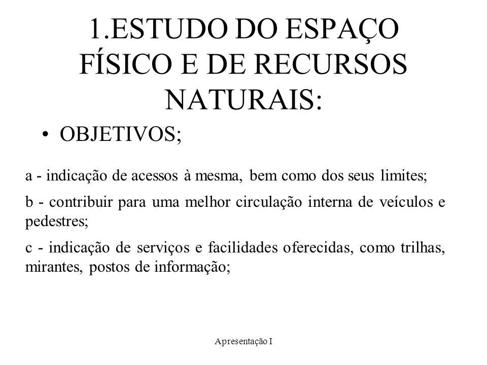 Apresentação I 1.ESTUDO DO ESPAÇO FÍSICO E DE RECURSOS NATURAIS: OBJETIVOS; a - indicação de acessos à mesma, bem como dos seus limites; b - contribui