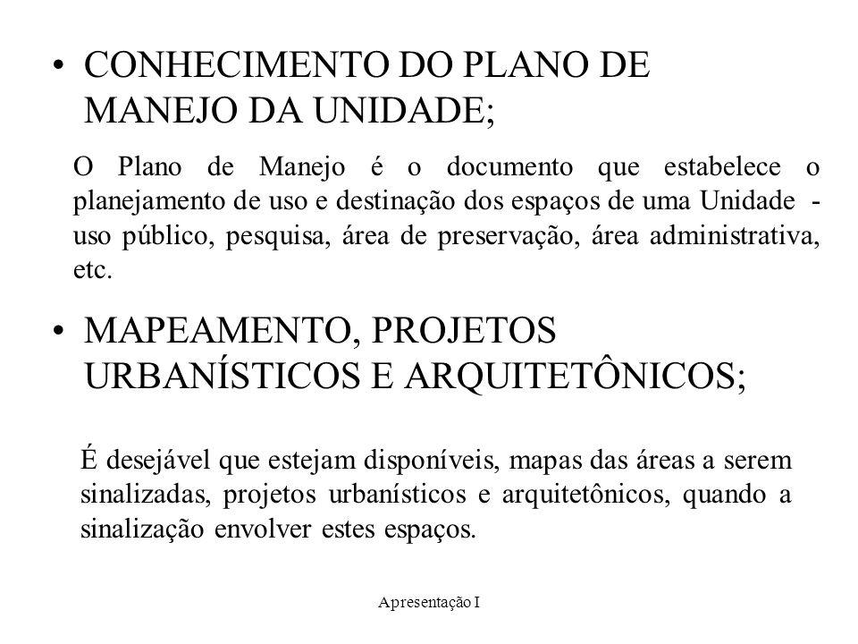 Apresentação I CONHECIMENTO DO PLANO DE MANEJO DA UNIDADE; MAPEAMENTO, PROJETOS URBANÍSTICOS E ARQUITETÔNICOS; O Plano de Manejo é o documento que est