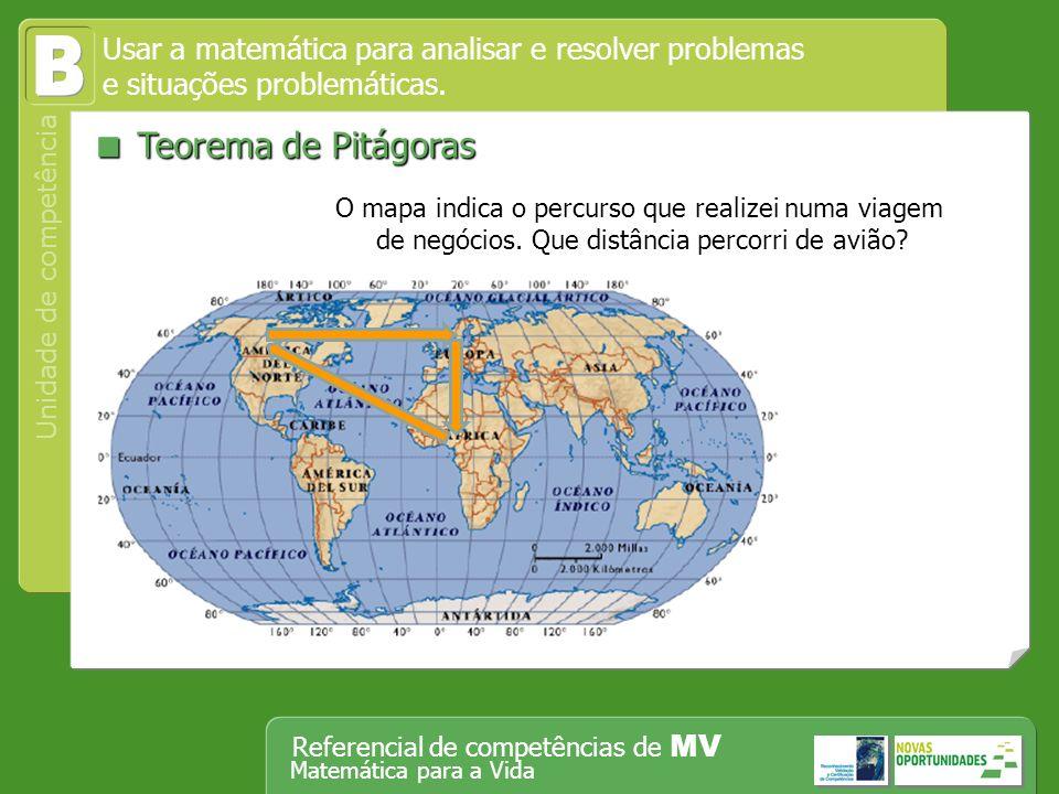 Operar, em segurança, equipamento tecnológico, designadamente o computador Unidade de competência Referencial de competências de MV Matemática para a Vida Teorema de Pitágoras Teorema de Pitágoras Usar a matemática para analisar e resolver problemas e situações problemáticas.
