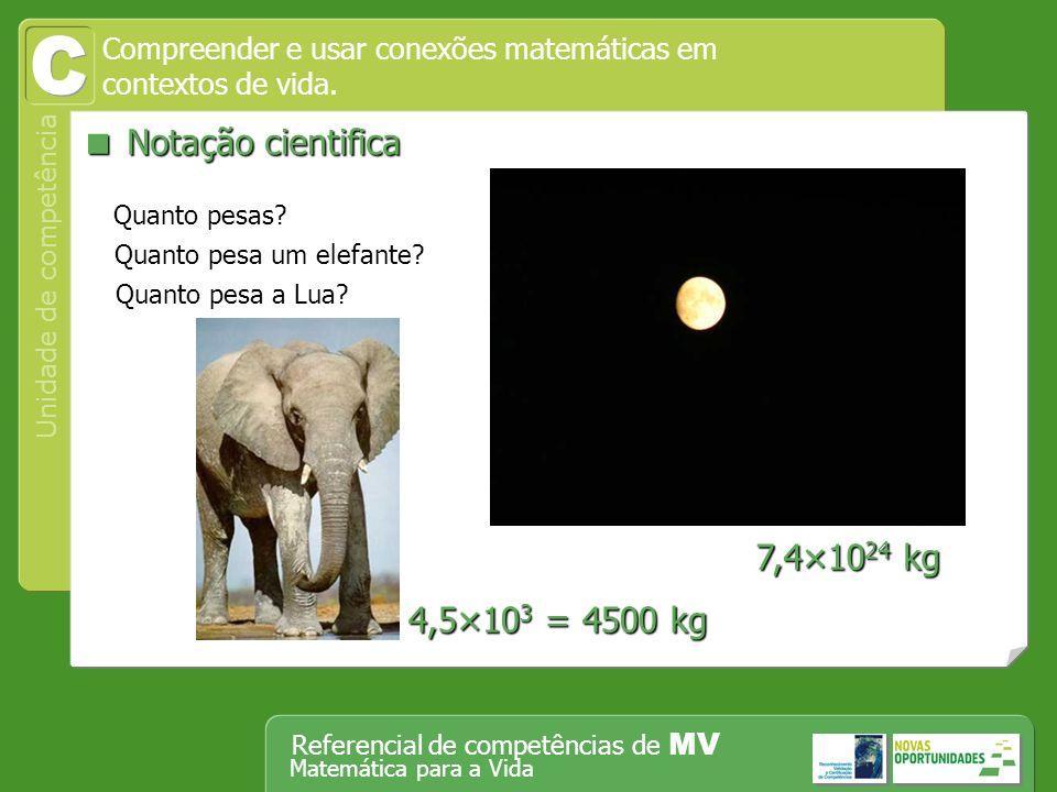 Operar, em segurança, equipamento tecnológico, designadamente o computador Unidade de competência Referencial de competências de MV Matemática para a Vida Compreender e usar conexões matemáticas em contextos de vida.