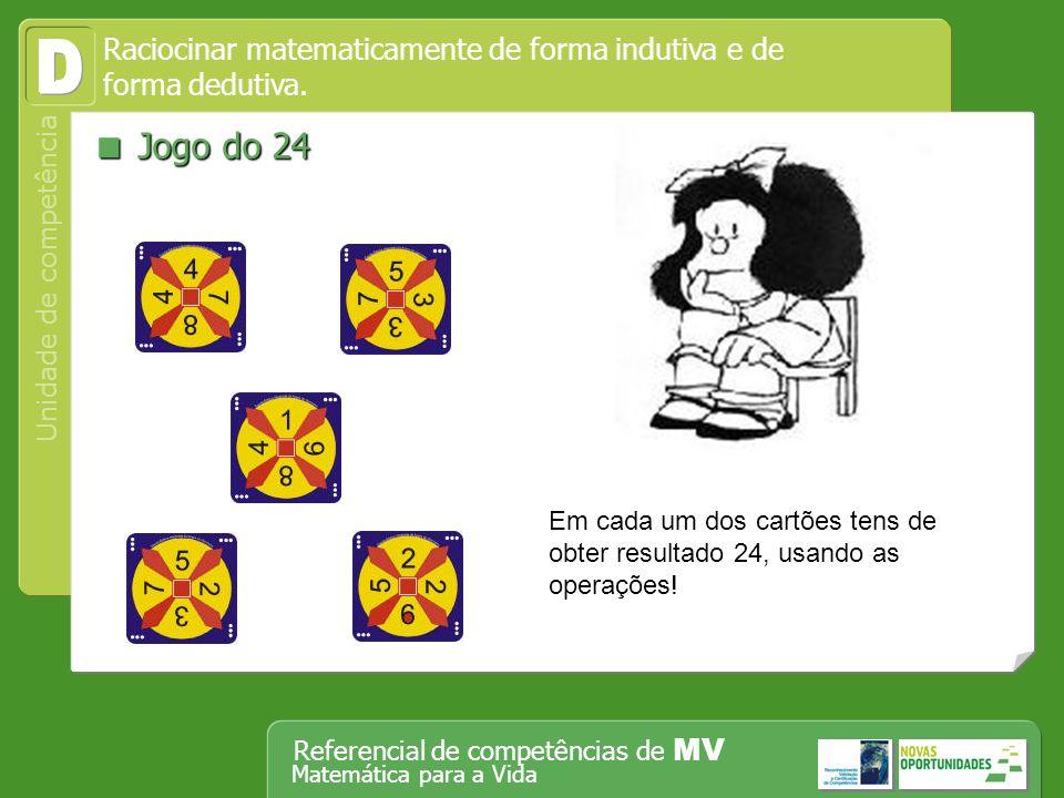 Operar, em segurança, equipamento tecnológico, designadamente o computador Unidade de competência Referencial de competências de MV Matemática para a Vida Jogo do 24 Jogo do 24 Raciocinar matematicamente de forma indutiva e de forma dedutiva.
