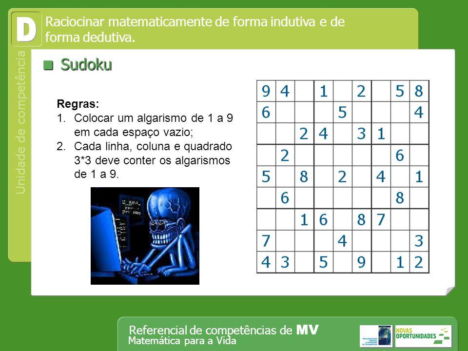 Operar, em segurança, equipamento tecnológico, designadamente o computador Unidade de competência Referencial de competências de MV Matemática para a Vida Sudoku Sudoku Raciocinar matematicamente de forma indutiva e de forma dedutiva.