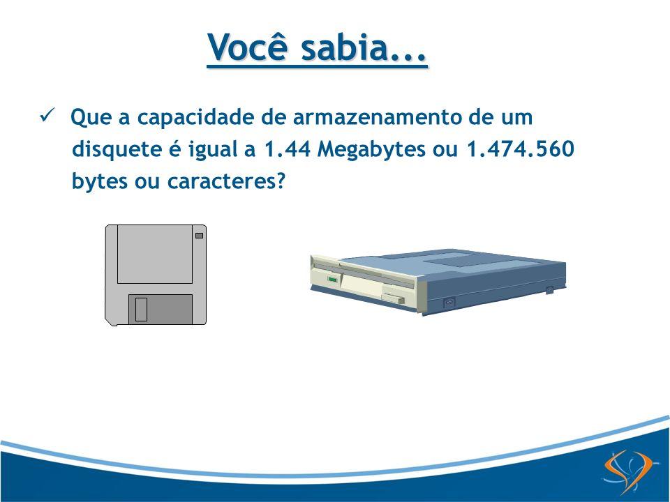 Você sabia... Que a capacidade de armazenamento de um disquete é igual a 1.44 Megabytes ou 1.474.560 bytes ou caracteres?