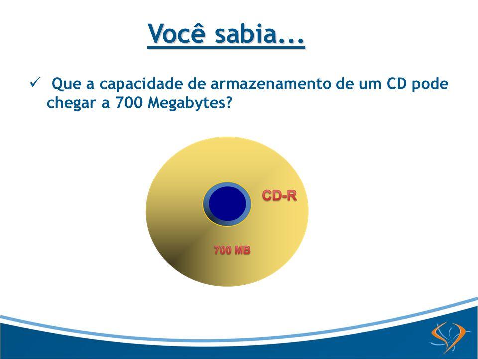 Que a capacidade de armazenamento de um CD pode chegar a 700 Megabytes? Você sabia...