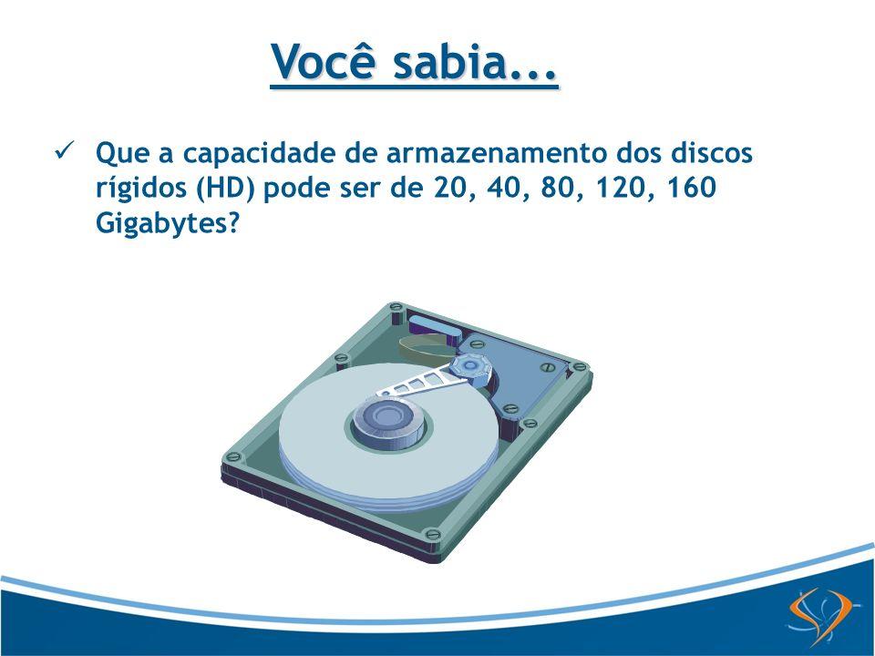 Que a capacidade de armazenamento dos discos rígidos (HD) pode ser de 20, 40, 80, 120, 160 Gigabytes? Você sabia...