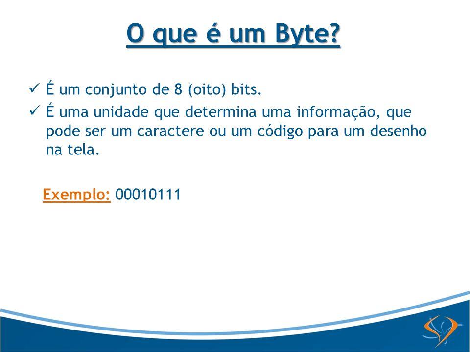 O que é um Byte? É um conjunto de 8 (oito) bits. É uma unidade que determina uma informação, que pode ser um caractere ou um código para um desenho na