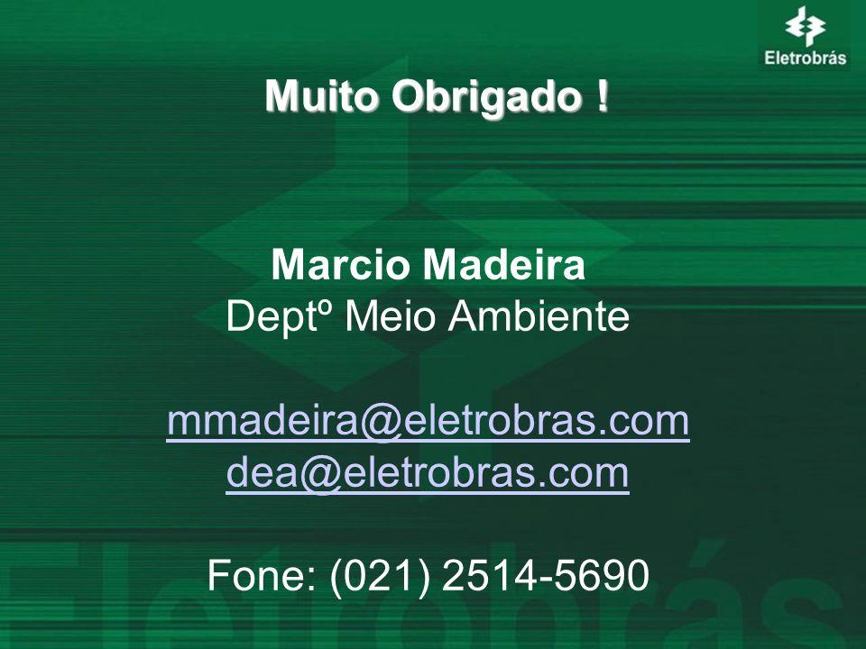 Muito Obrigado ! Marcio Madeira Deptº Meio Ambiente mmadeira@eletrobras.com dea@eletrobras.com Fone: (021) 2514-5690
