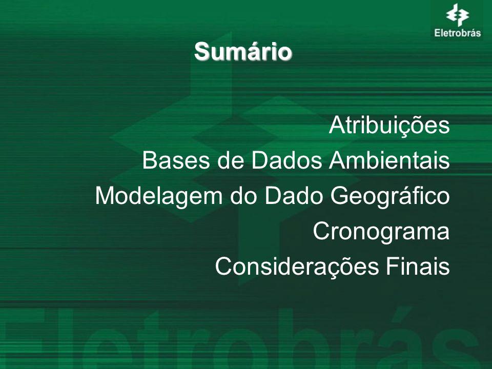 Sumário Atribuições Bases de Dados Ambientais Modelagem do Dado Geográfico Cronograma Considerações Finais