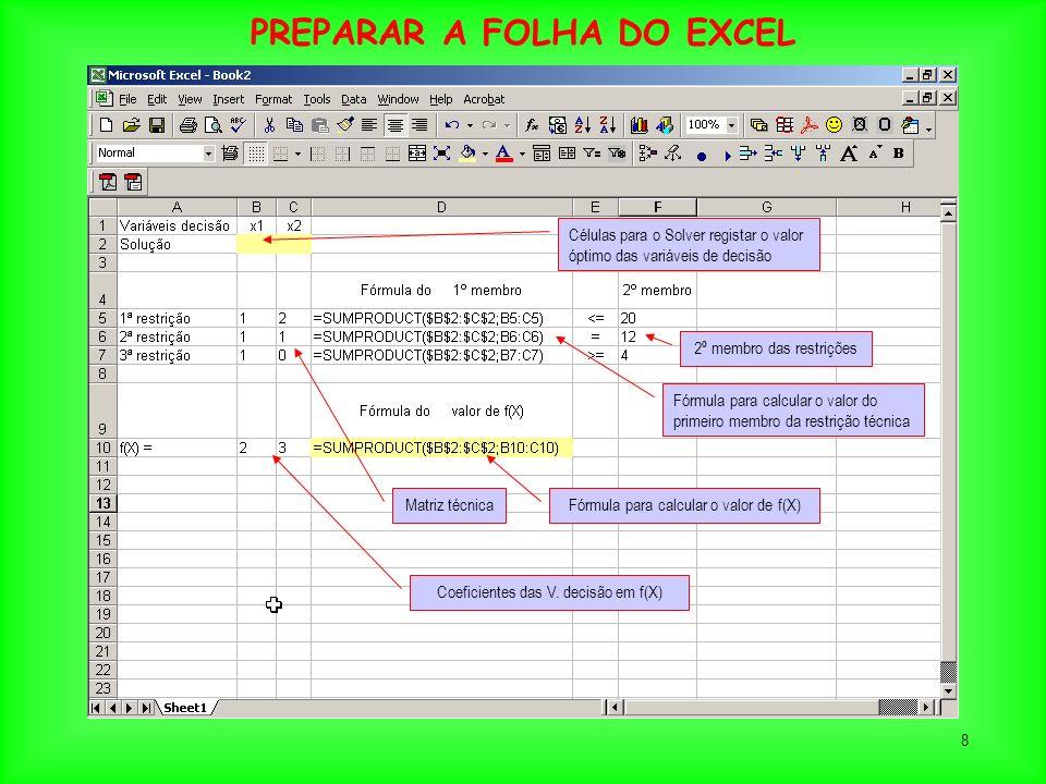 8 Fórmula para calcular o valor do primeiro membro da restrição técnica Fórmula para calcular o valor de f(X) Células para o Solver registar o valor ó