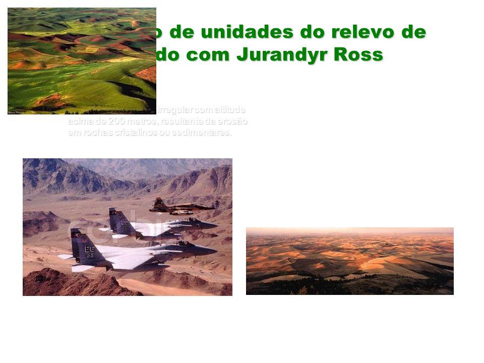 Definição de unidades do relevo de acordo com Jurandyr Ross Planalto – Superfície irregular com altitude acima de 200 metros, resultante da erosão em