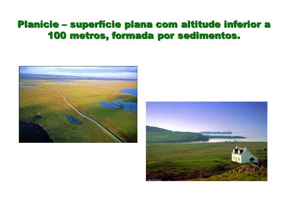 Planície – superfície plana com altitude inferior a 100 metros, formada por sedimentos.