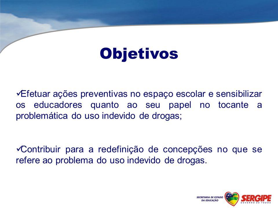 Objetivos Efetuar ações preventivas no espaço escolar e sensibilizar os educadores quanto ao seu papel no tocante a problemática do uso indevido de dr