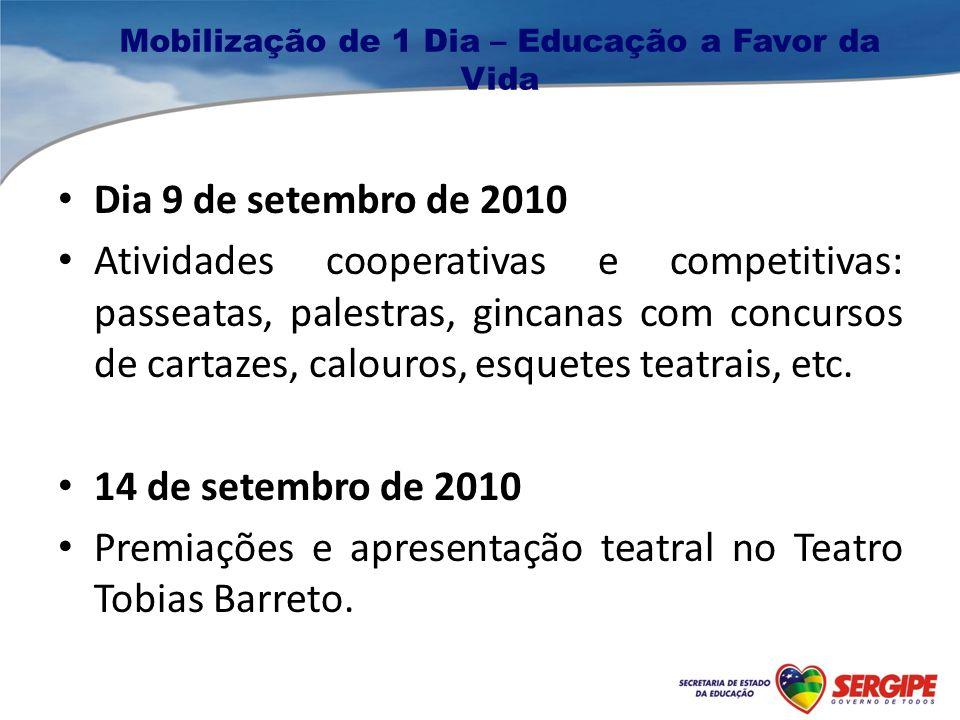 Mobilização de 1 Dia – Educação a Favor da Vida Dia 9 de setembro de 2010 Atividades cooperativas e competitivas: passeatas, palestras, gincanas com concursos de cartazes, calouros, esquetes teatrais, etc.