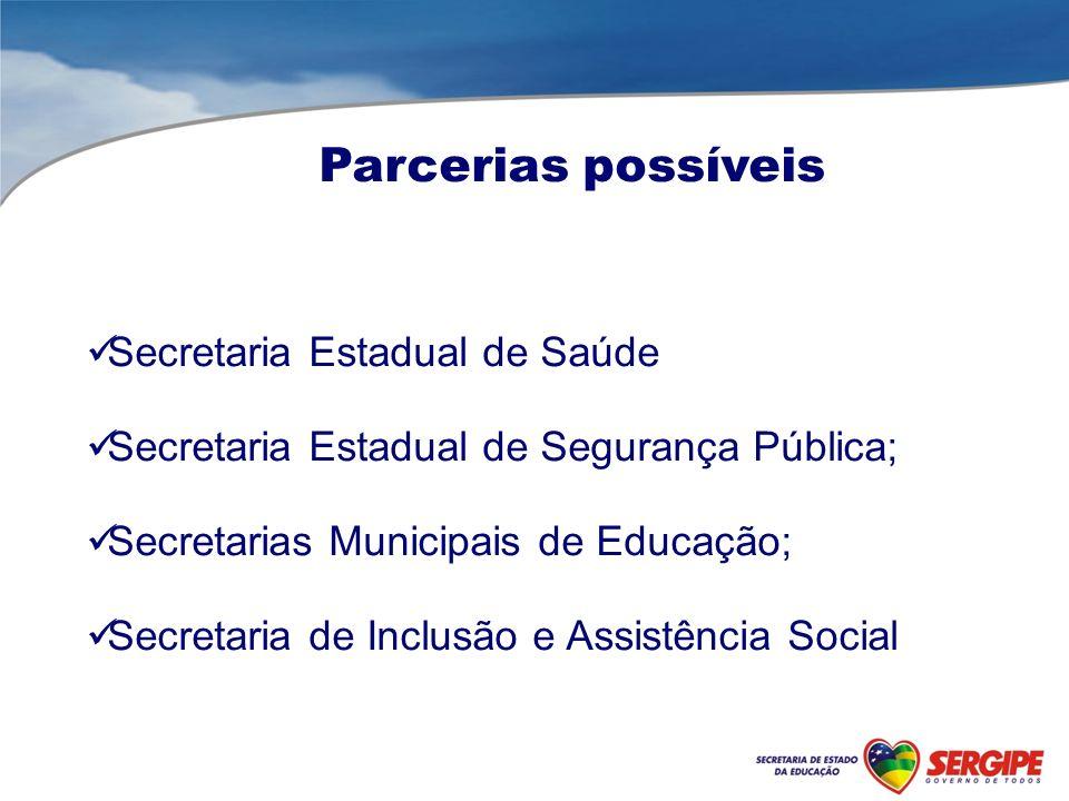 Parcerias possíveis Secretaria Estadual de Saúde Secretaria Estadual de Segurança Pública; Secretarias Municipais de Educação; Secretaria de Inclusão