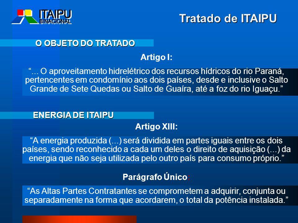 Tratado de ITAIPU Artigo I:... O aproveitamento hidrelétrico dos recursos hídricos do rio Paraná, pertencentes em condomínio aos dois países, desde e