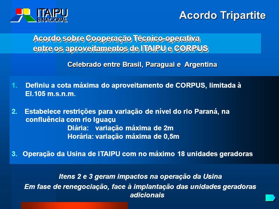 Acordo Tripartite Acordo sobre Cooperação Técnico-operativa entre os aproveitamentos de ITAIPU e CORPUS Acordo sobre Cooperação Técnico-operativa entr
