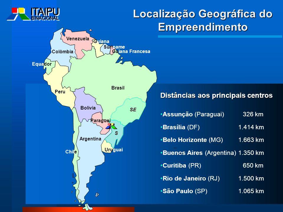Localização Geográfica do Empreendimento Distâncias aos principais centros Assunção (Paraguai) 326 km Brasília (DF)1.414 km Belo Horizonte (MG)1.663 k
