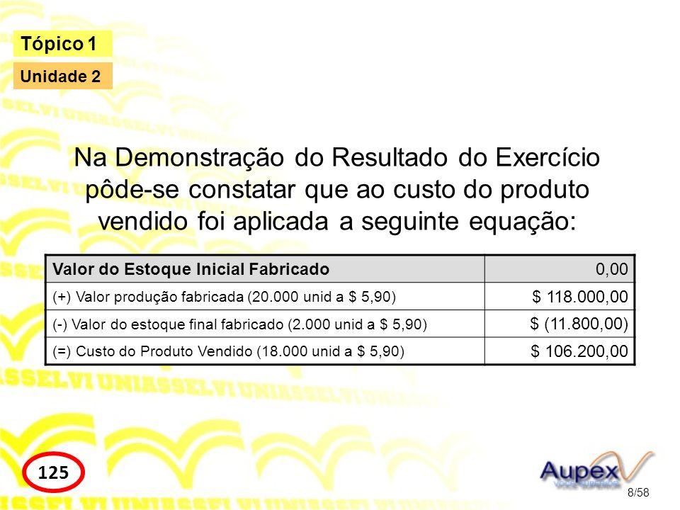 Resultado do Exercício = Lucro Bruto – Despesas Operacionais Administrativas Fixas – Despesas Operacionais Administrativas Variáveis 9/58 Tópico 1 126 Unidade 2 Resultado do Exercício = 64.800 – 5.000 – 9.000 Resultado do Exercício = 50.800