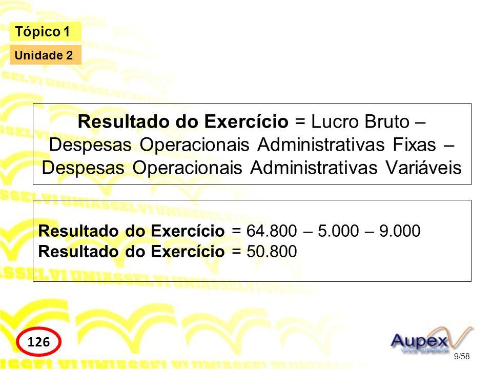 Resultado do Exercício = Lucro Bruto – Despesas Operacionais Administrativas Fixas – Despesas Operacionais Administrativas Variáveis 9/58 Tópico 1 126
