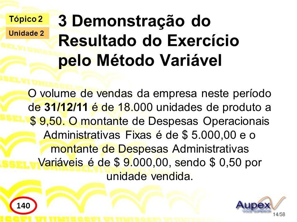 3 Demonstração do Resultado do Exercício pelo Método Variável 14/58 Tópico 2 140 Unidade 2 O volume de vendas da empresa neste período de 31/12/11 é d