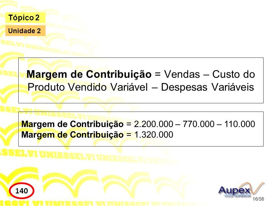 Margem de Contribuição = Vendas – Custo do Produto Vendido Variável – Despesas Variáveis 16/58 Tópico 2 140 Unidade 2 Margem de Contribuição = 2.200.0