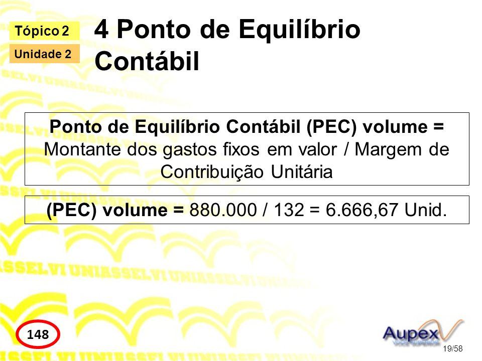 4 Ponto de Equilíbrio Contábil 19/58 Tópico 2 148 Unidade 2 Ponto de Equilíbrio Contábil (PEC) volume = Montante dos gastos fixos em valor / Margem de
