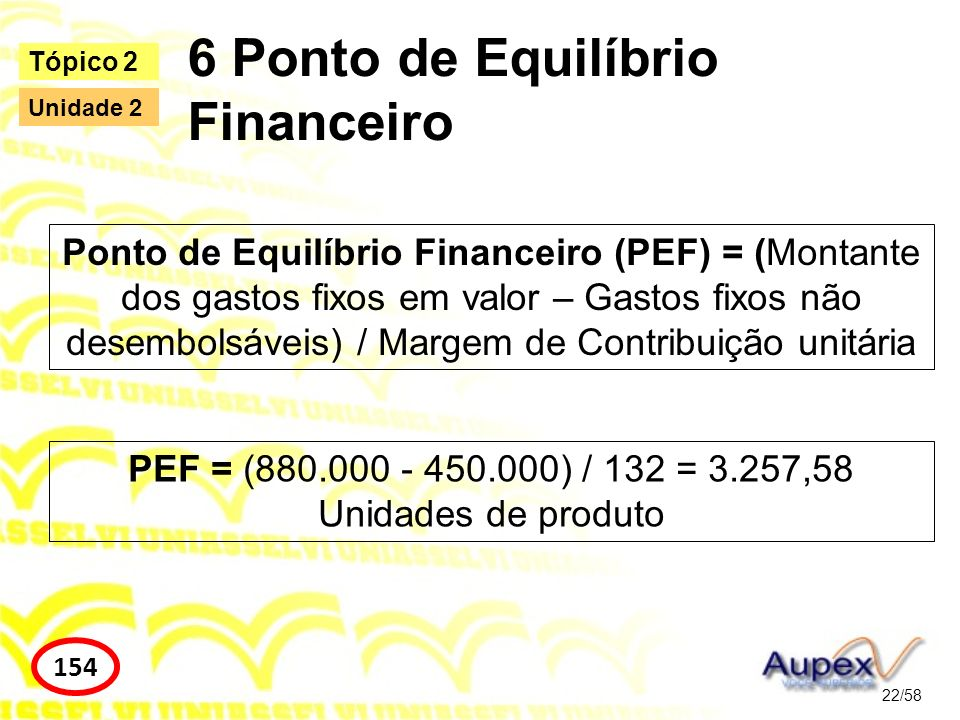 6 Ponto de Equilíbrio Financeiro 22/58 Tópico 2 154 Unidade 2 Ponto de Equilíbrio Financeiro (PEF) = (Montante dos gastos fixos em valor – Gastos fixo