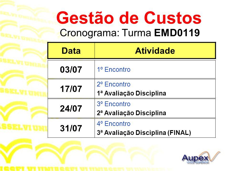 Cronograma: Turma EMD0119 Gestão de Custos DataAtividade 03/07 1º Encontro 24/07 3º Encontro 2ª Avaliação Disciplina 31/07 4º Encontro 3ª Avaliação Di
