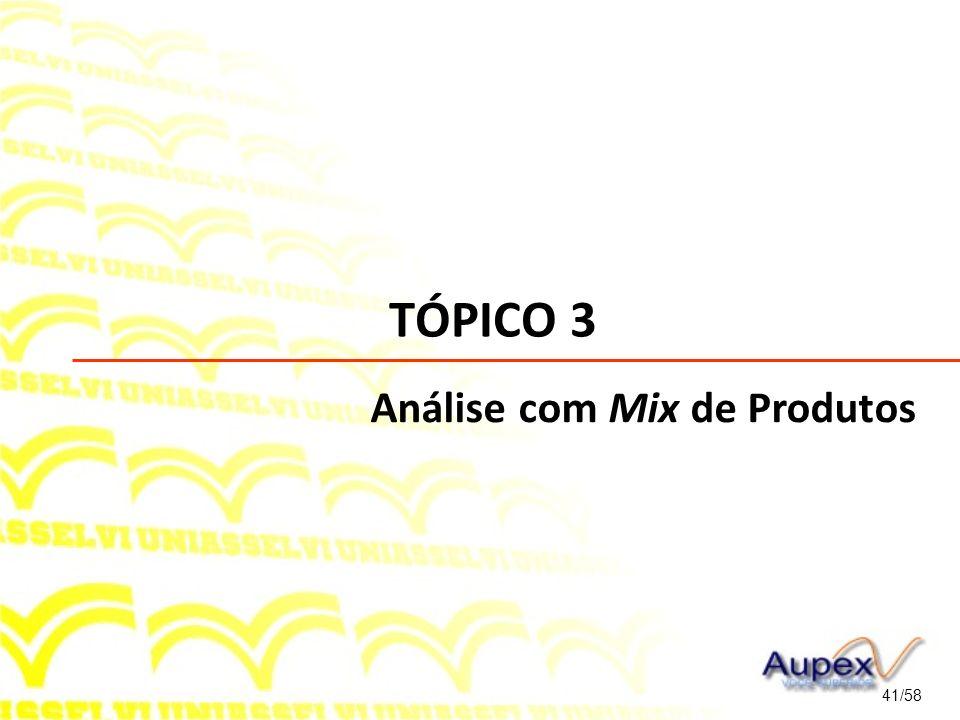 TÓPICO 3 41/58 Análise com Mix de Produtos