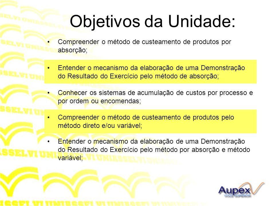 Objetivos da Unidade: Compreender o método de custeamento de produtos por absorção; Entender o mecanismo da elaboração de uma Demonstração do Resultad