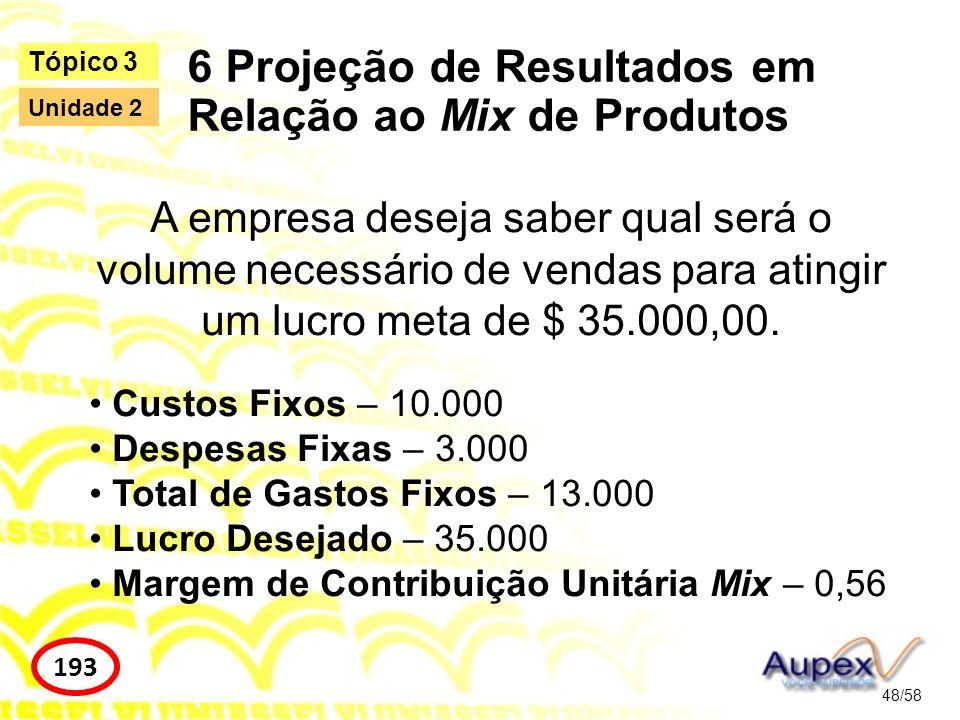 6 Projeção de Resultados em Relação ao Mix de Produtos 48/58 Tópico 3 193 Unidade 2 A empresa deseja saber qual será o volume necessário de vendas par