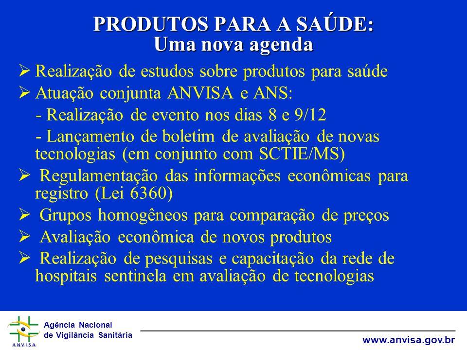 Agência Nacional de Vigilância Sanitária www.anvisa.gov.br PRODUTOS PARA A SAÚDE: Uma nova agenda Realização de estudos sobre produtos para saúde Atua
