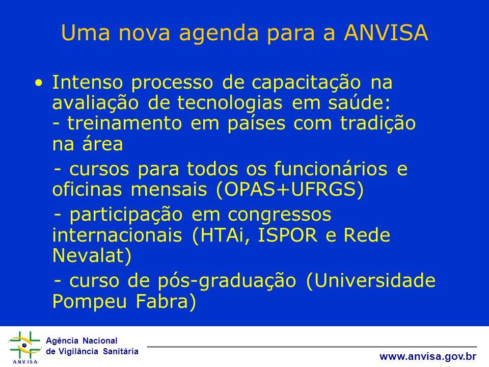 Agência Nacional de Vigilância Sanitária www.anvisa.gov.br Uma nova agenda para a ANVISA Intenso processo de capacitação na avaliação de tecnologias e