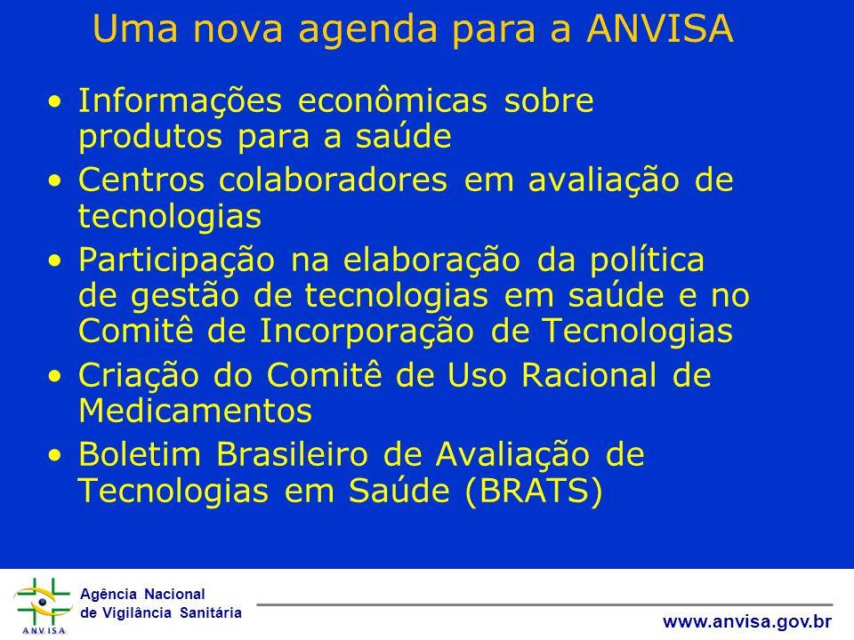 Agência Nacional de Vigilância Sanitária www.anvisa.gov.br Uma nova agenda para a ANVISA Informações econômicas sobre produtos para a saúde Centros co