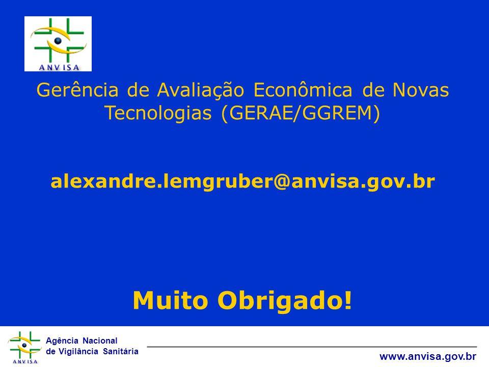 Agência Nacional de Vigilância Sanitária www.anvisa.gov.br Gerência de Avaliação Econômica de Novas Tecnologias (GERAE/GGREM) alexandre.lemgruber@anvi