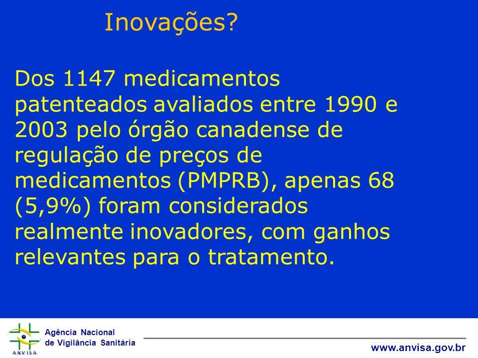 Agência Nacional de Vigilância Sanitária www.anvisa.gov.br Impacto econômico dos medicamentos O gasto com medicamentos do MS passou de 5,8% do orçamento para 10,1% entre 2002 e 2005 O gasto do Estado de São Paulo com medicamentos de alto custo aumentou em 10 vezes entre 1995 e 2002 Nos EUA, a despesa do Medicaid com medicamentos passou de US$ 4,8bi para US$ 21 bi entre 1990 e 2000